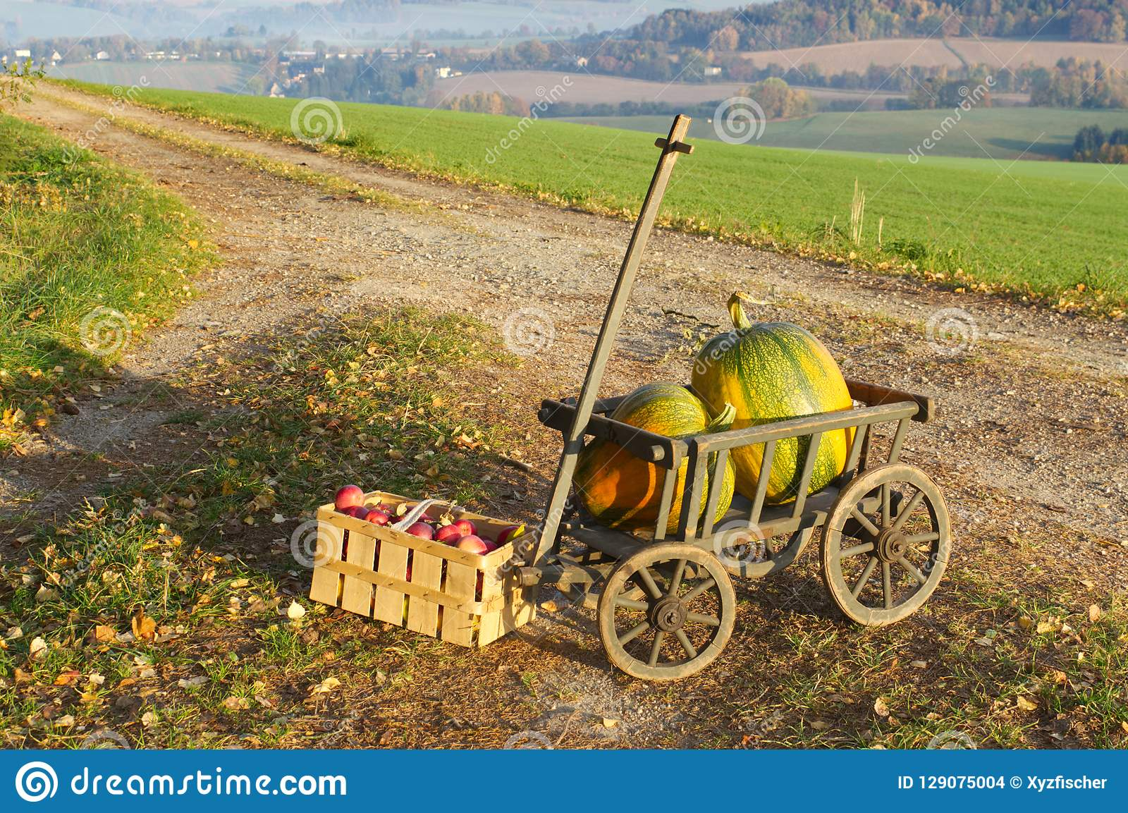 Handcart z dwa jabłkami i baniami