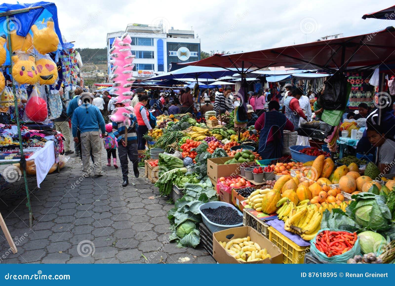 handcraft market in the town of otavalo ecuador editorial image