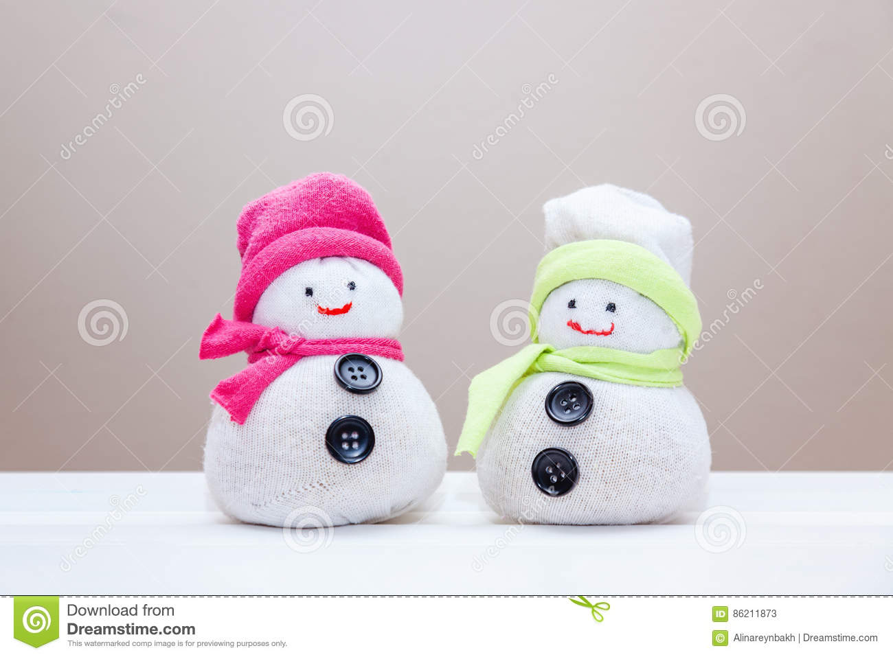 Handcraft Toy Snowmen Made From Socks And Rice Stock Image Image