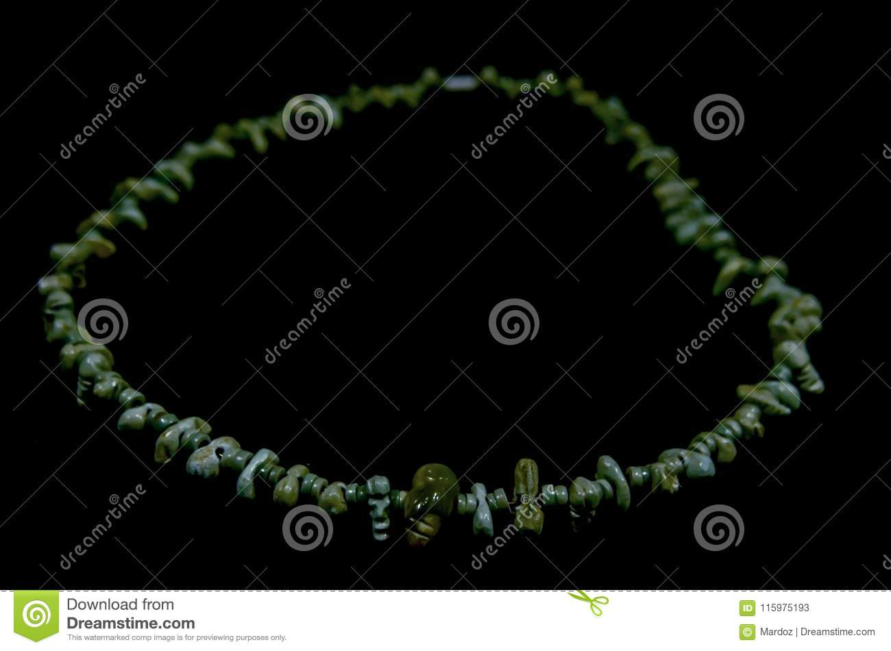 Ancient Costa Rica Necklace Made Of Jade By Natives Stock Image