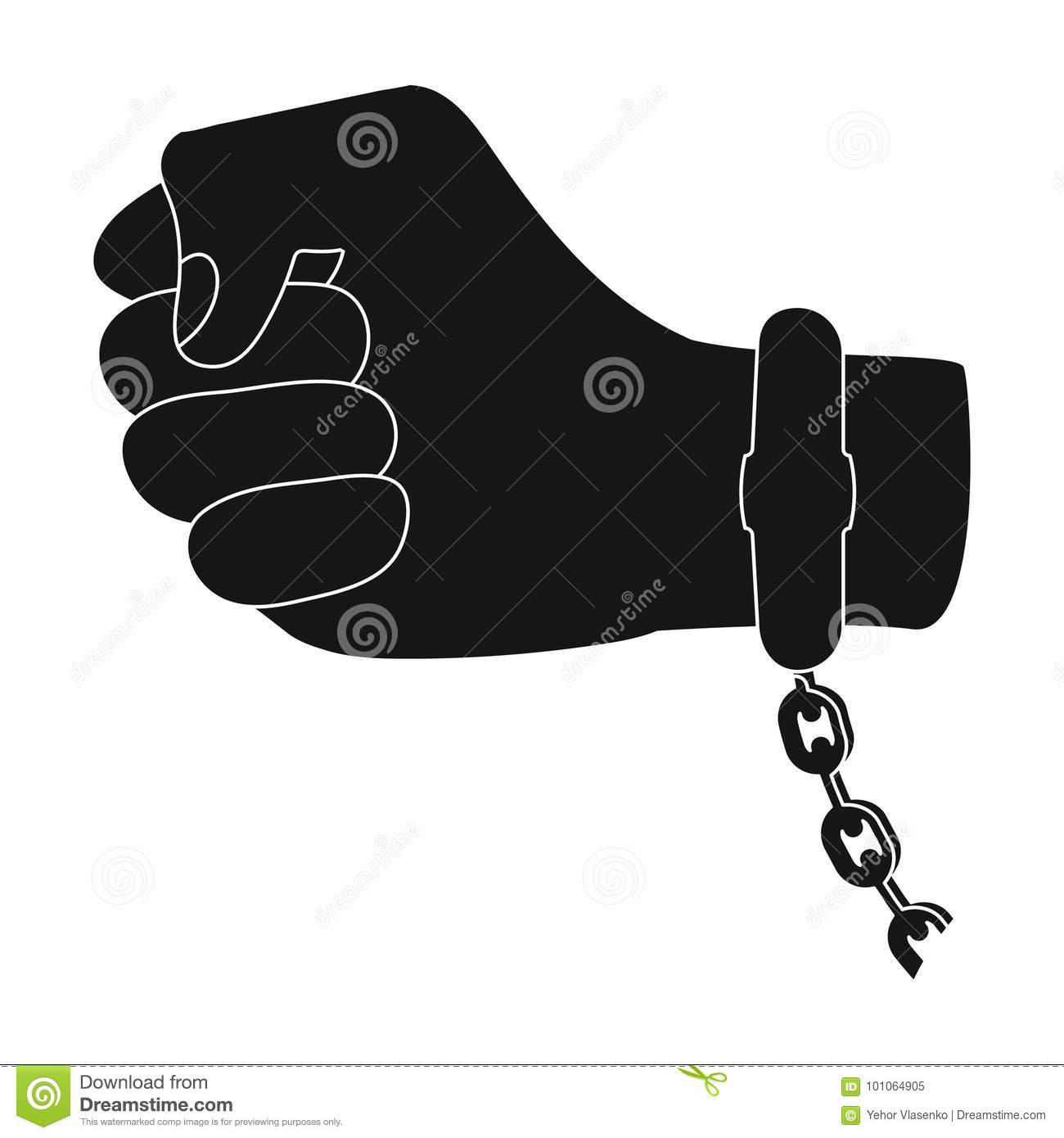 Handcuff On The Hand Of The Criminal Crime And Arrest Single Icon