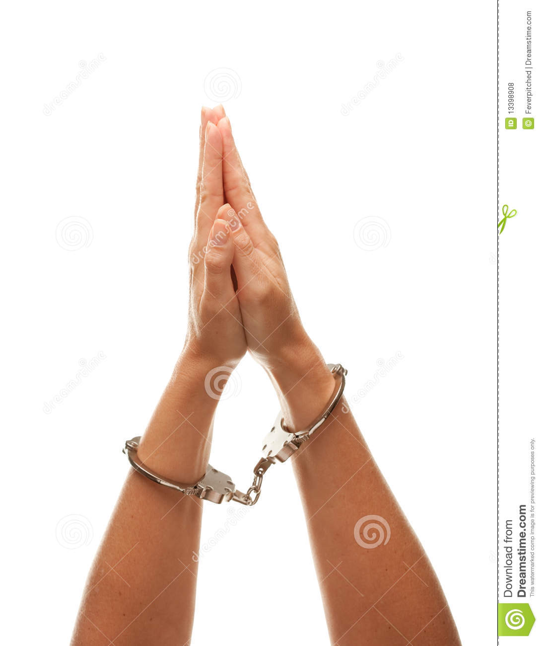 Handcuffed Woman Raising Hands in Air on White