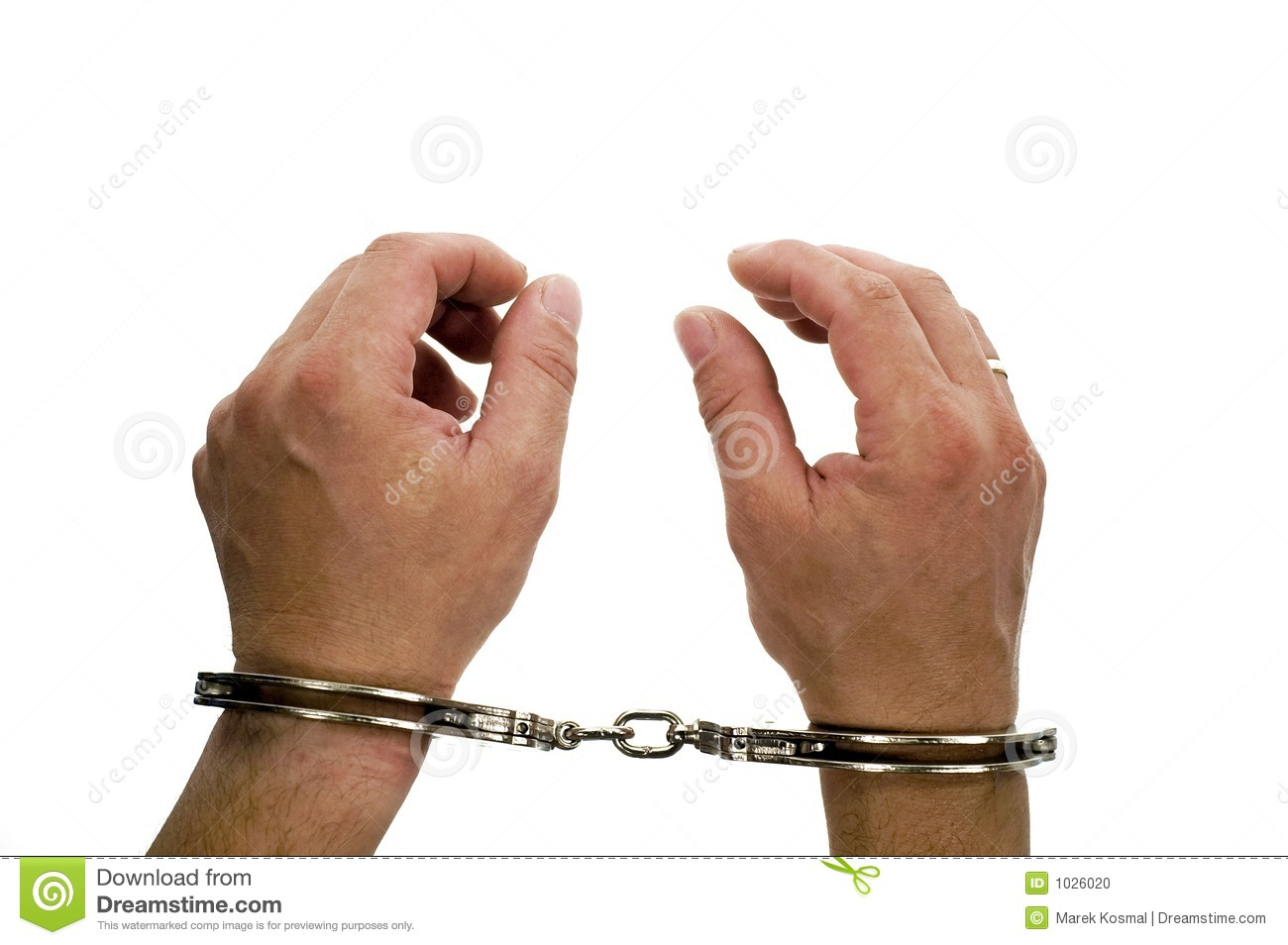 Original handcuffs on hands on white backgroung.