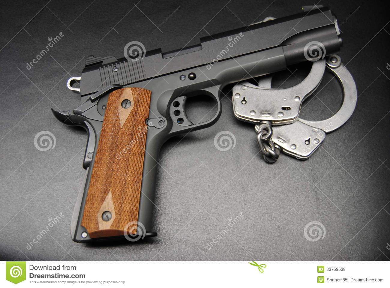 Handcuffs And 1911 Pistol Stock Photo Image Of Metal