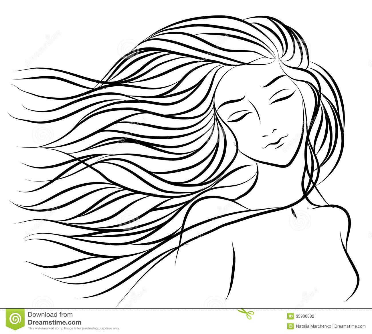 Handdrawing Portrait Of A Girl With Hair Stock ...