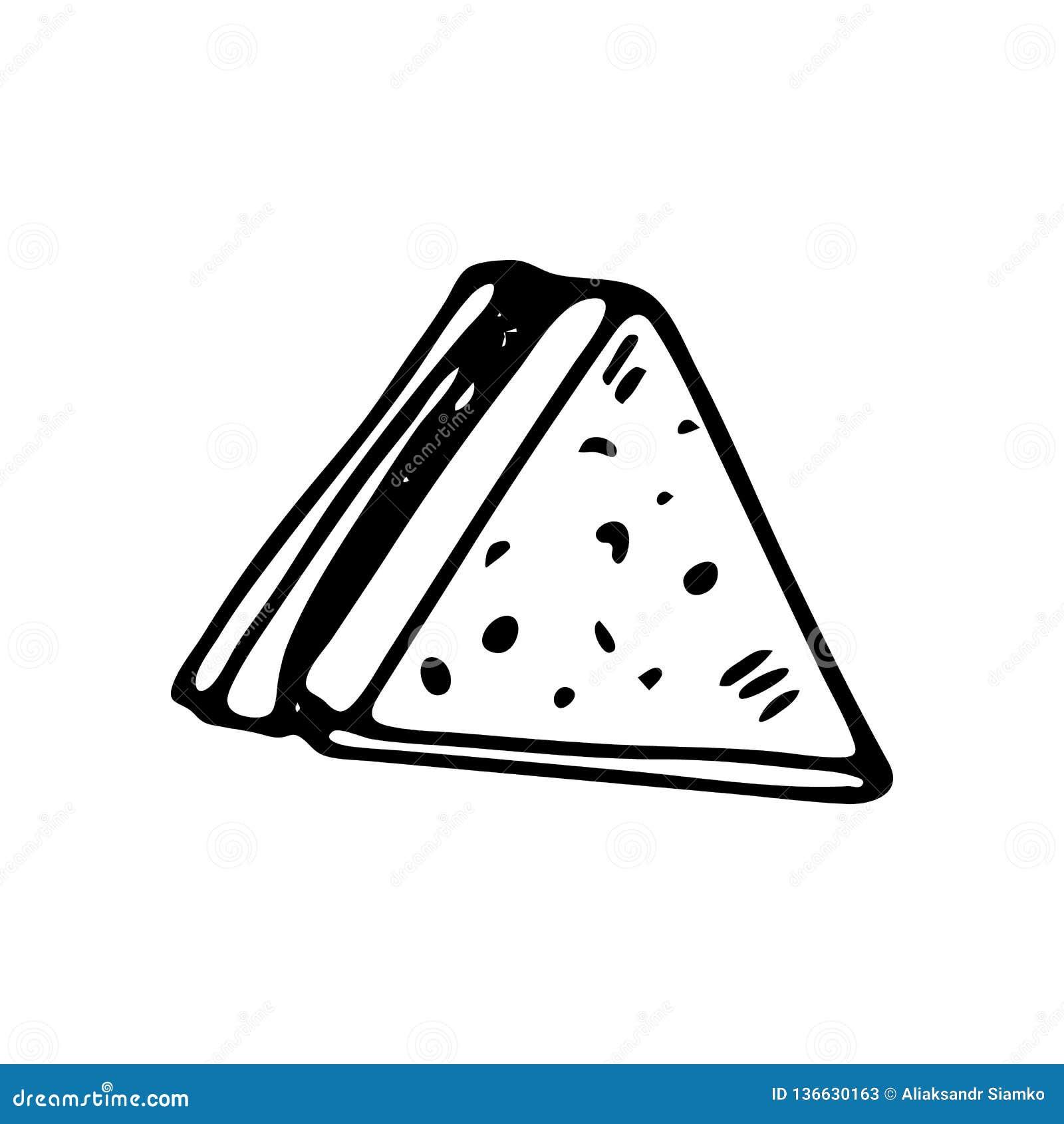 Handdrawn значок sandwichdoodle Эскиз нарисованный рукой черный символ знака Элемент украшения Белая предпосылка изолировано Плос