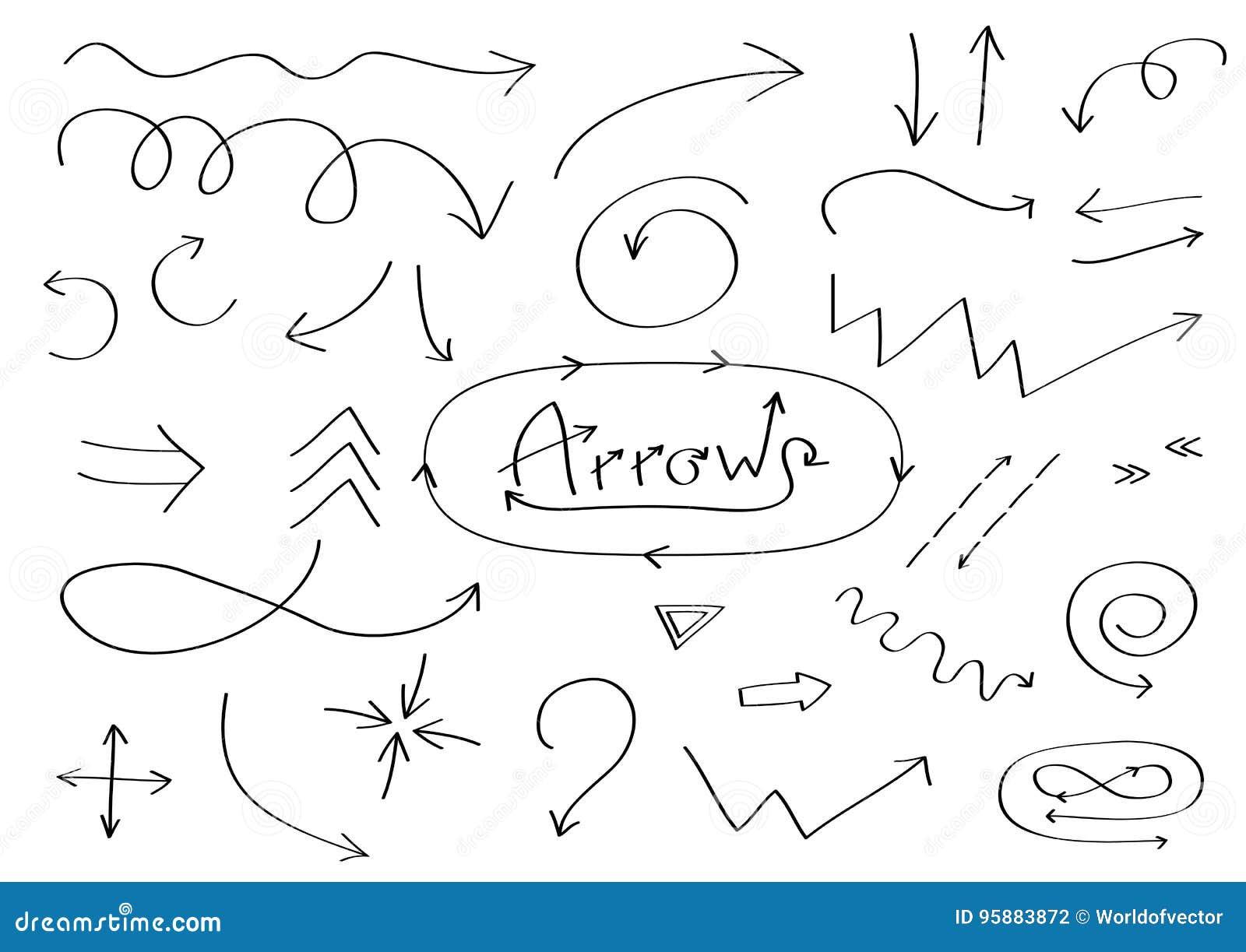Handdrawn комплект значка стрелок doodle Нарисованный рукой черный эскиз стрелки Собрание символа знака Элемент украшения Белая п