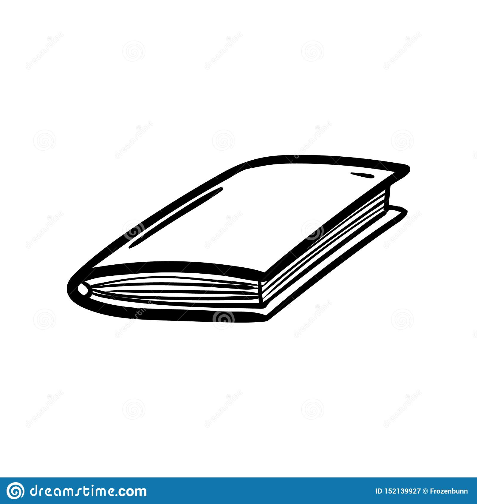 Handdrawn book doodle icon. Hand drawn black sketch. Sign symbol. Decoration element. White background. Isolated. Flat design.