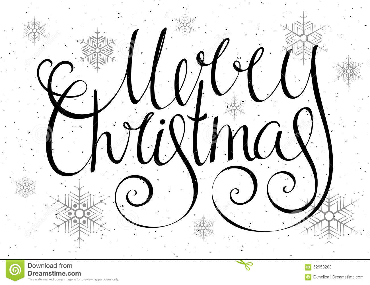 Handdrawn Calligraphic Inscription Merry Christmas Stock Vector ...