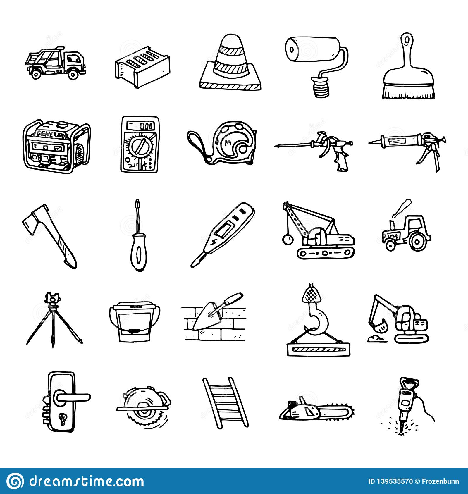 Handdrawn Construction Tools And Equipment Set Doodle Icons