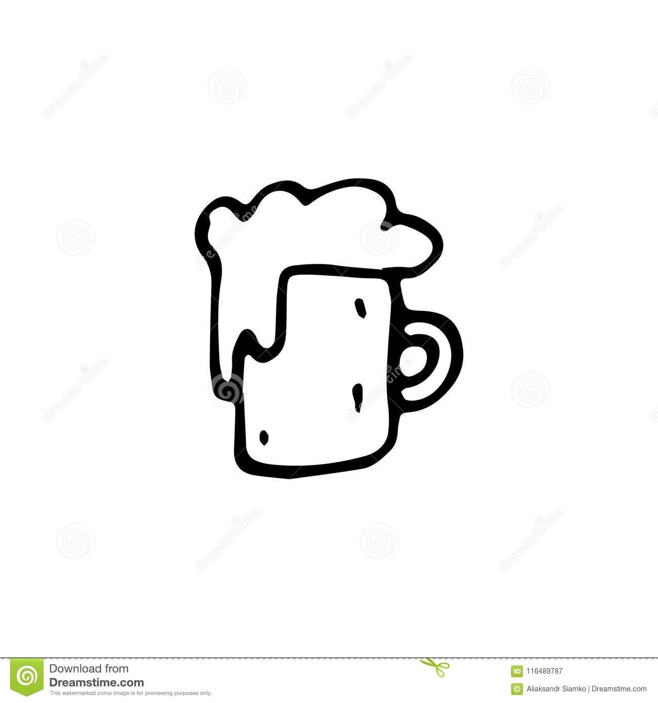 Handdrawn Cup Of Beer Doodle Icon Hand Drawn Black Sketch Sign Stock Vector Illustration Of Drawing Isolated 116489787