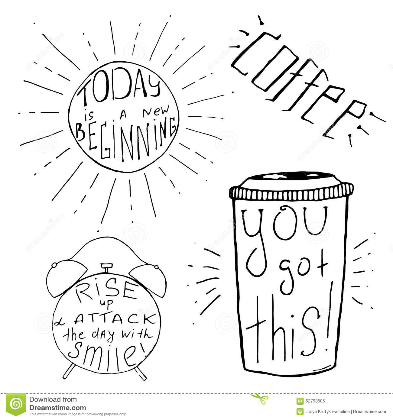 Handdrawn Inspirational And Motivational Quotes Set For Morning