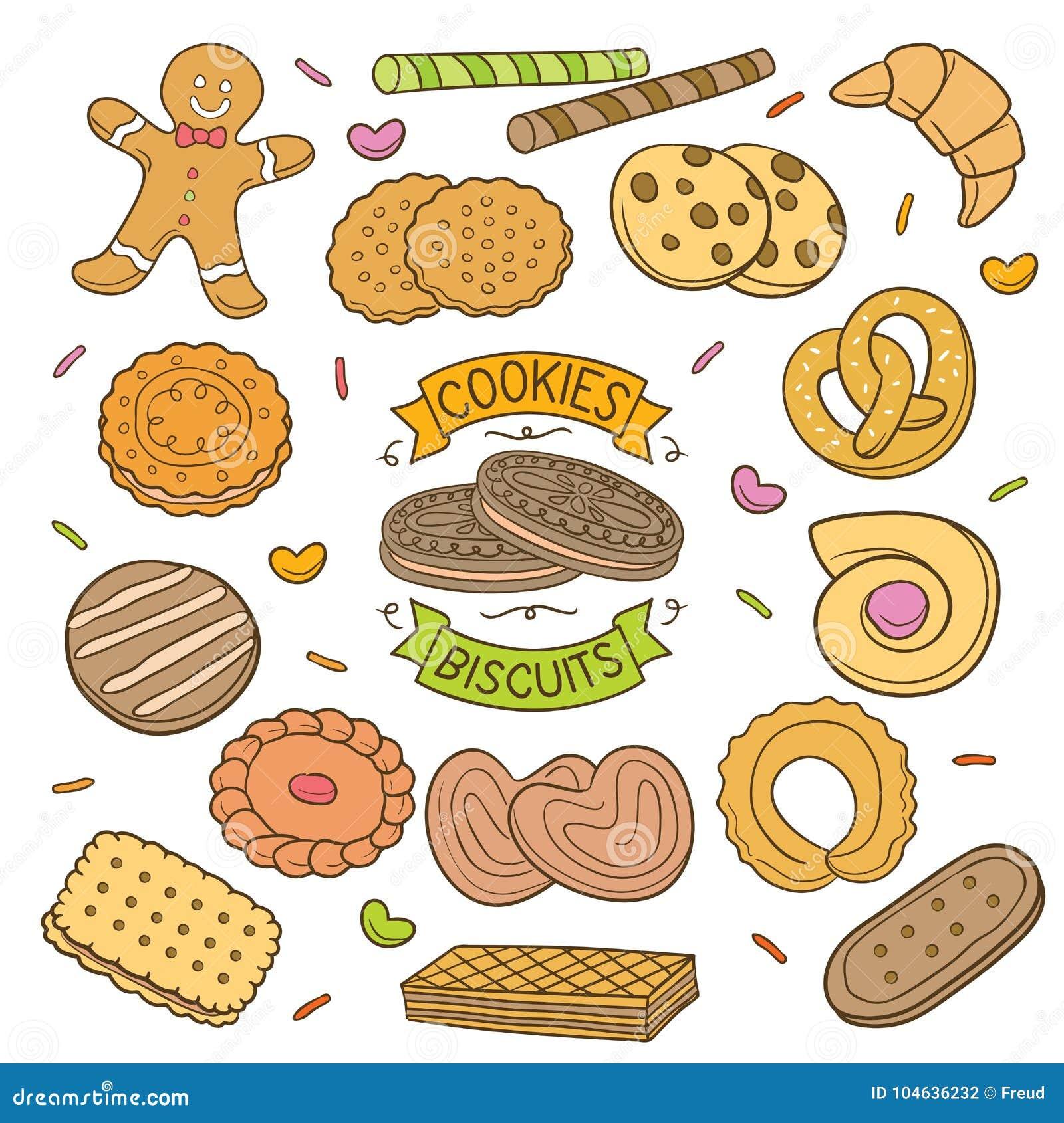 Download Handdrawn Koekjes En Koekjes Vector Illustratie - Illustratie bestaande uit dessert, bakkerij: 104636232