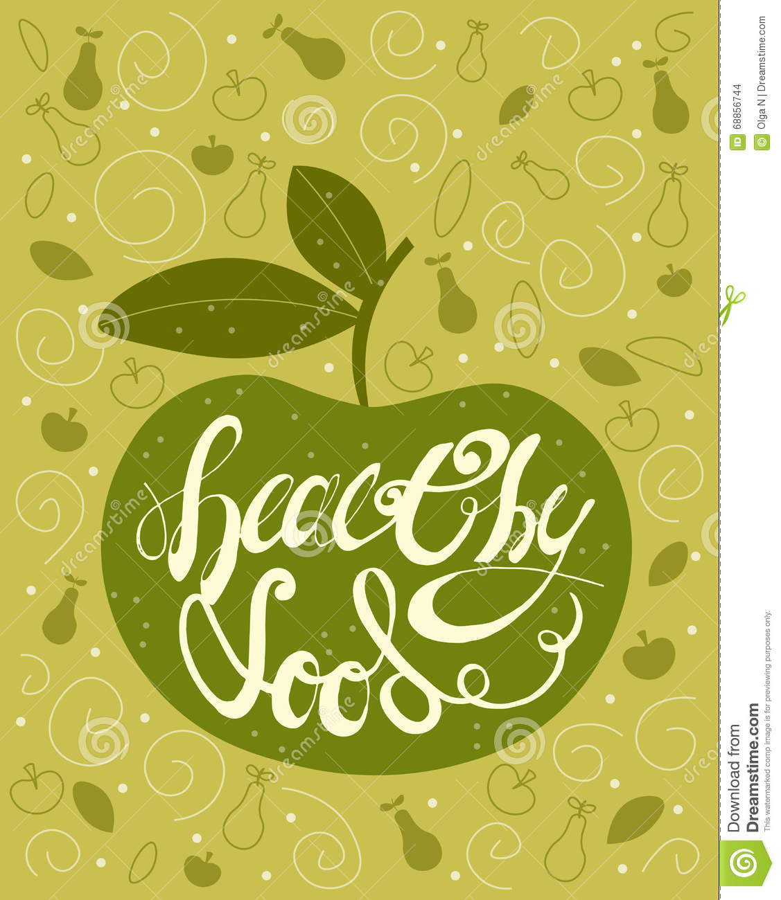 Handdrawn Lettering Calligraphic Text Healthy Food With Green Apple