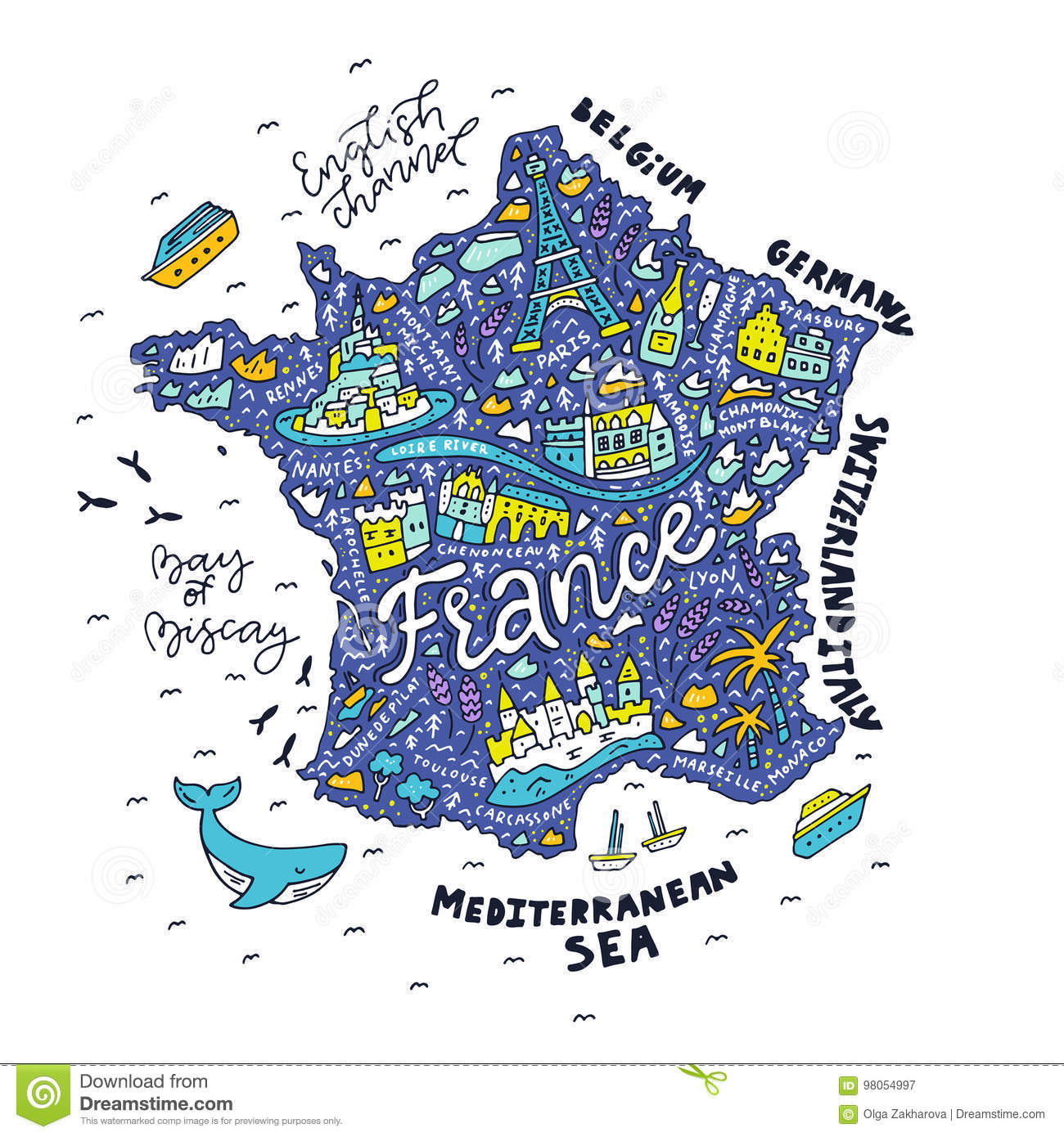 Handdrawn Map Of France Stock Image Image Of Patriotic 98054997