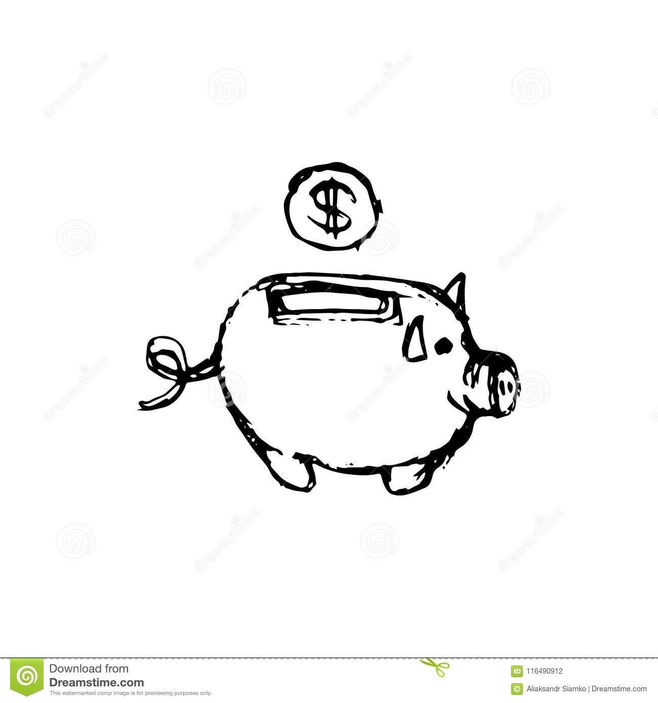 handdrawn money box pig doodle icon hand drawn black sketch si