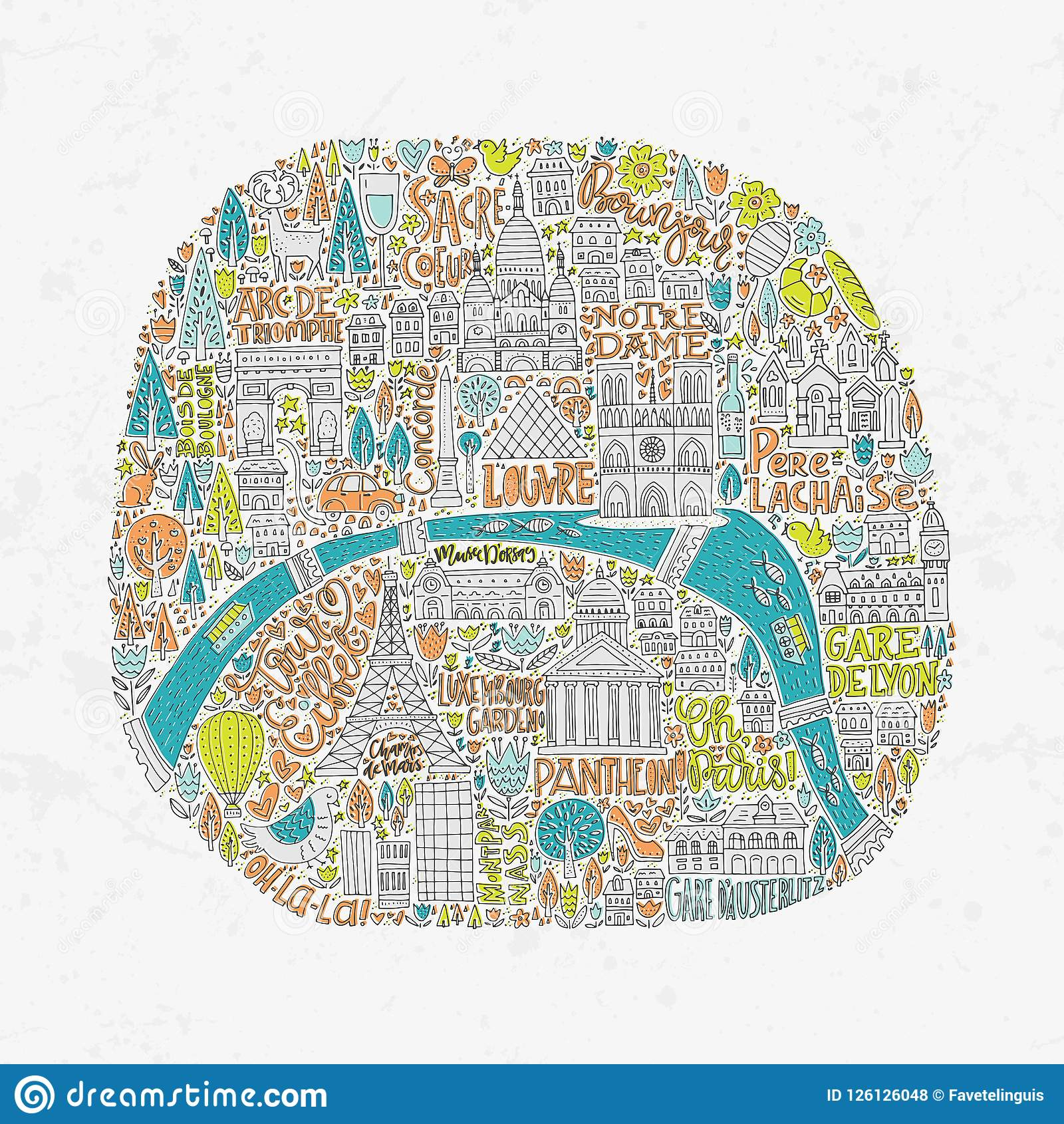 Handdrawn Paris Map stock vector. Illustration of doodle ...