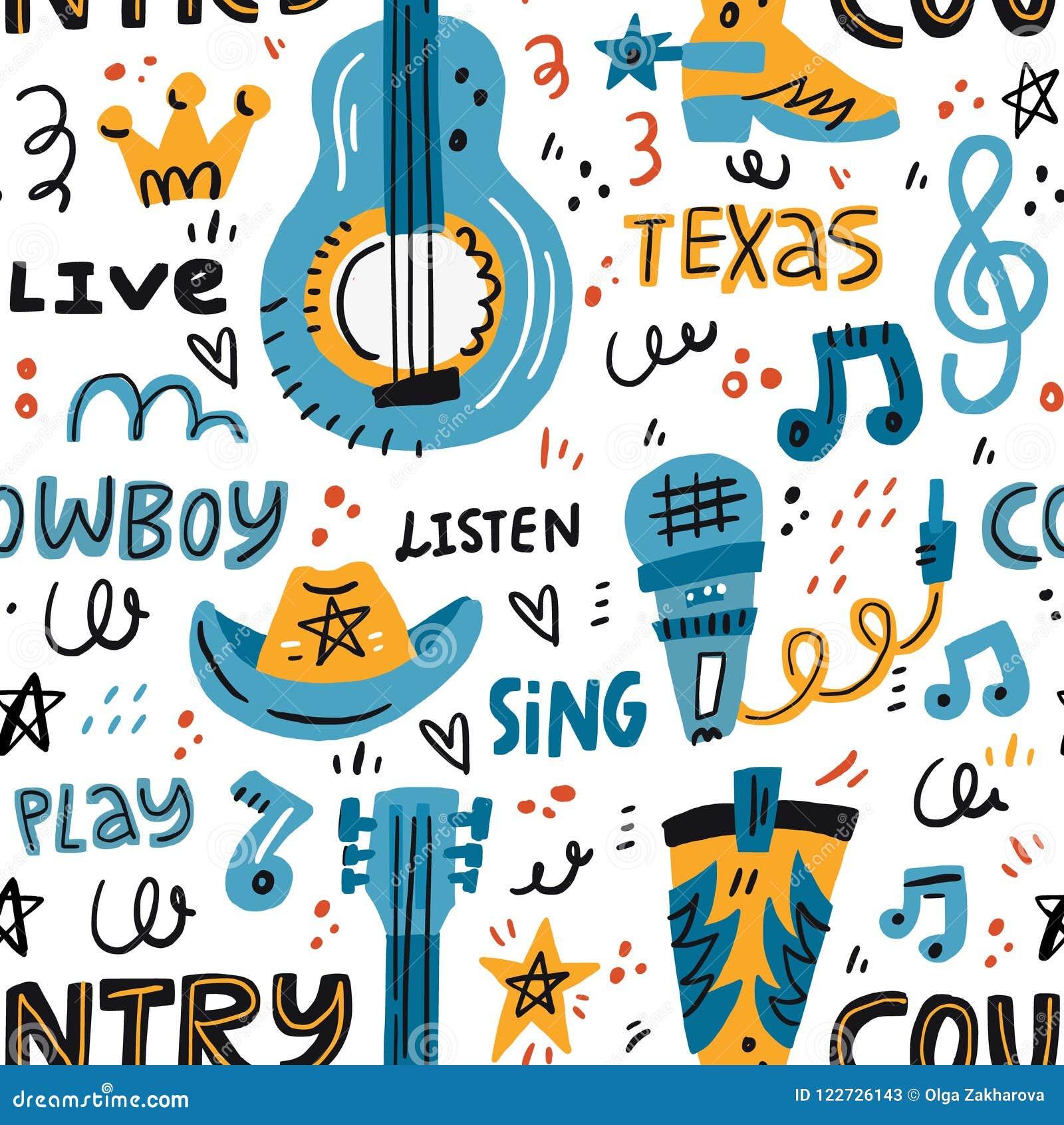 Country Music Pattern Stock Vector Illustration Of Illustration