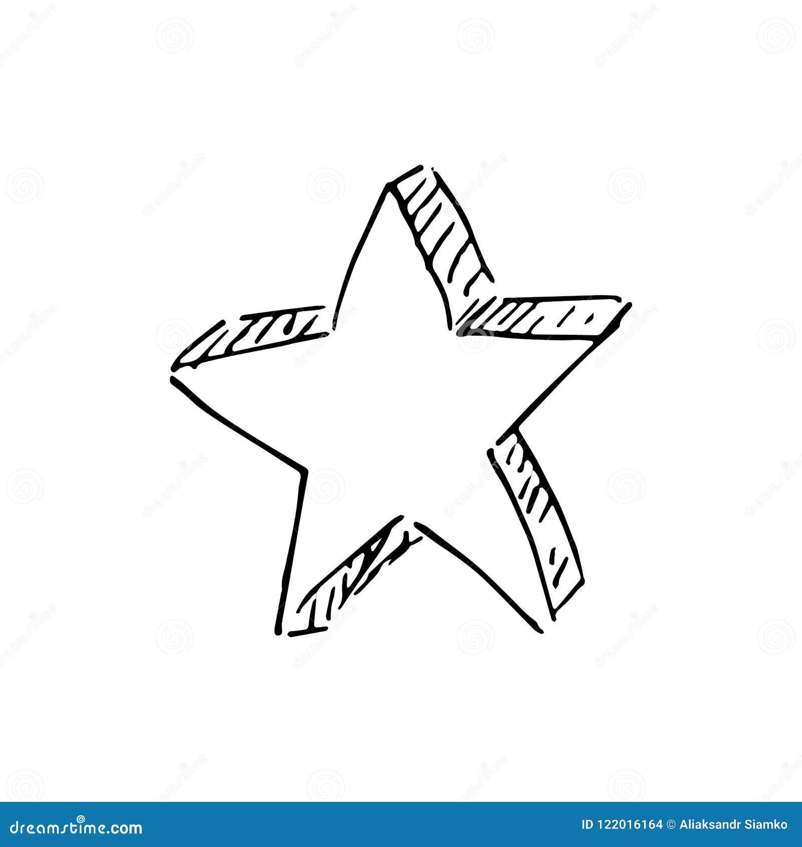 Handdrawn star doodle icon hand drawn black sketch sign