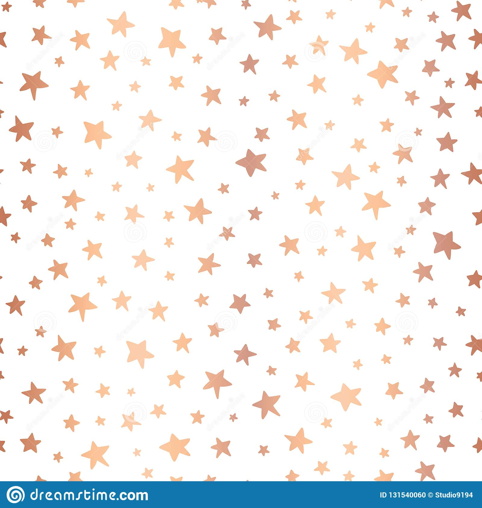Handdrawn Stars Rose Gold Foil Vector Background Seamless Pattern