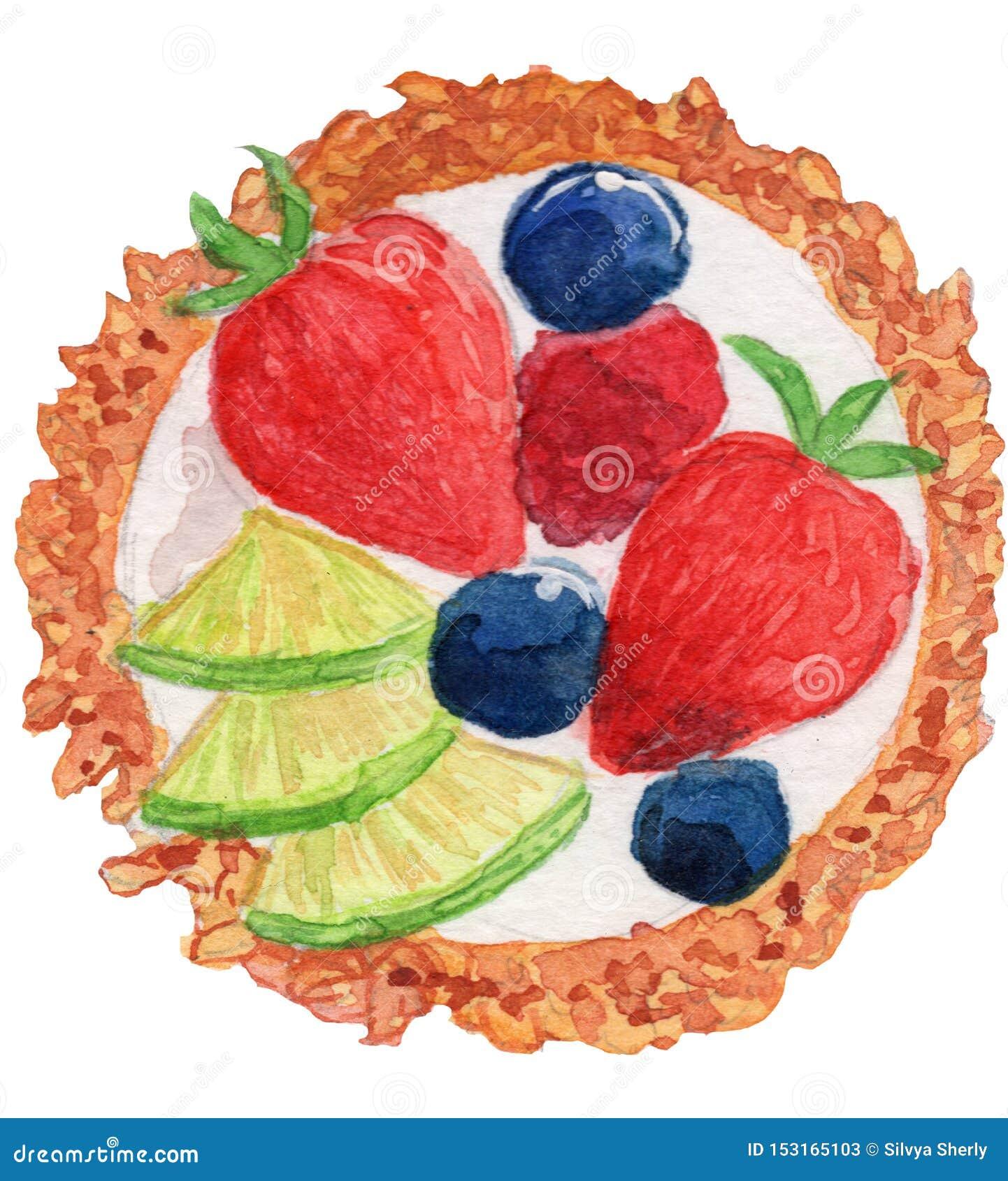 Fruit Tart Watercolor Illustration