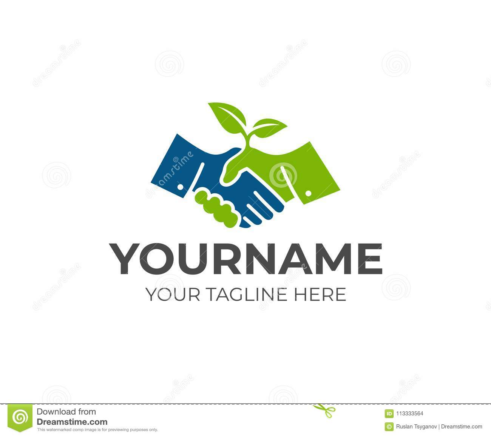 Handdruk en spruitembleemmalplaatje Samenwerking, overeenkomst en de groei van bedrijfs vectorontwerp