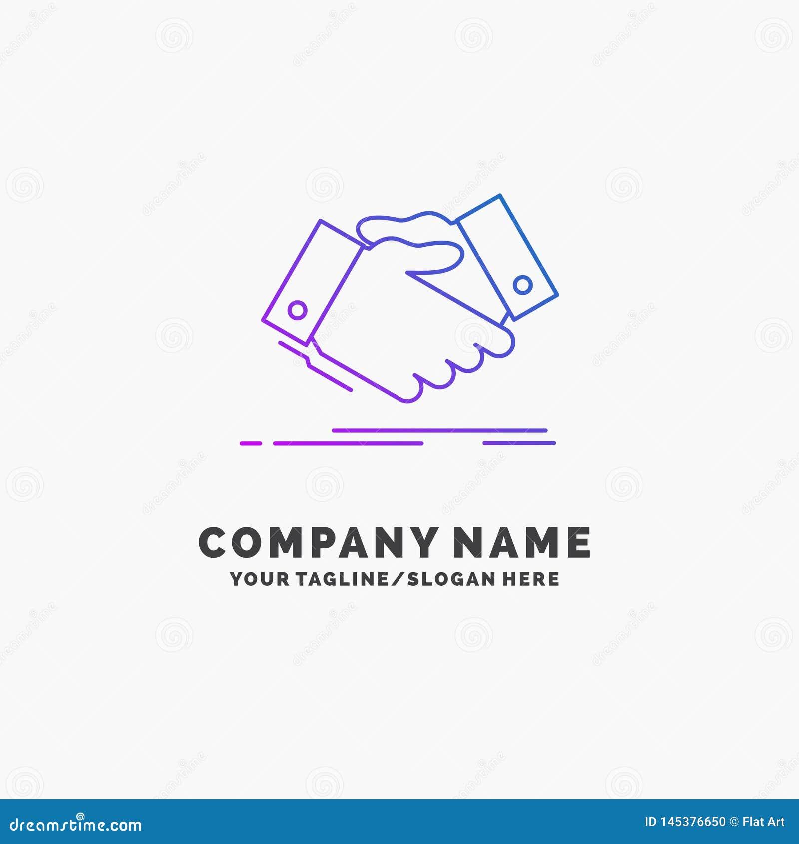 Handdruk, handschok, het schudden hand, Overeenkomst, bedrijfs Purpere Zaken Logo Template Plaats voor Tagline