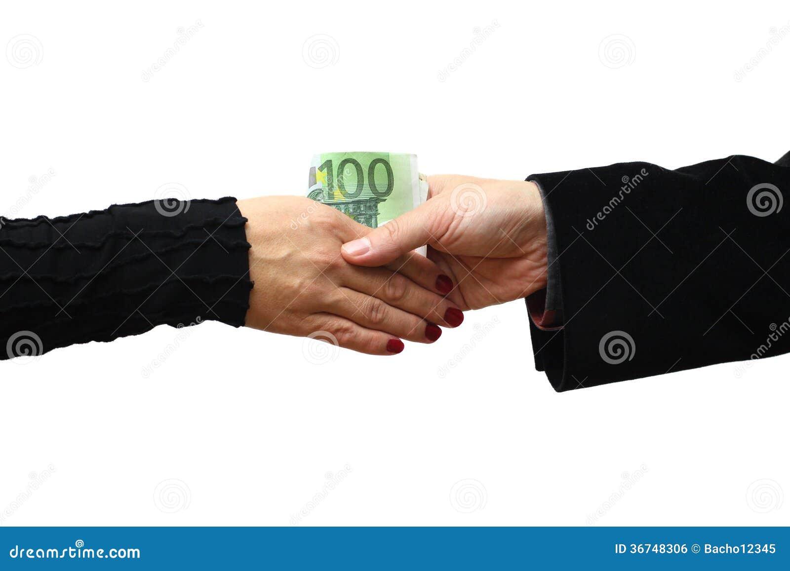 Handdruk met geld op witte achtergrond wordt geïsoleerd die