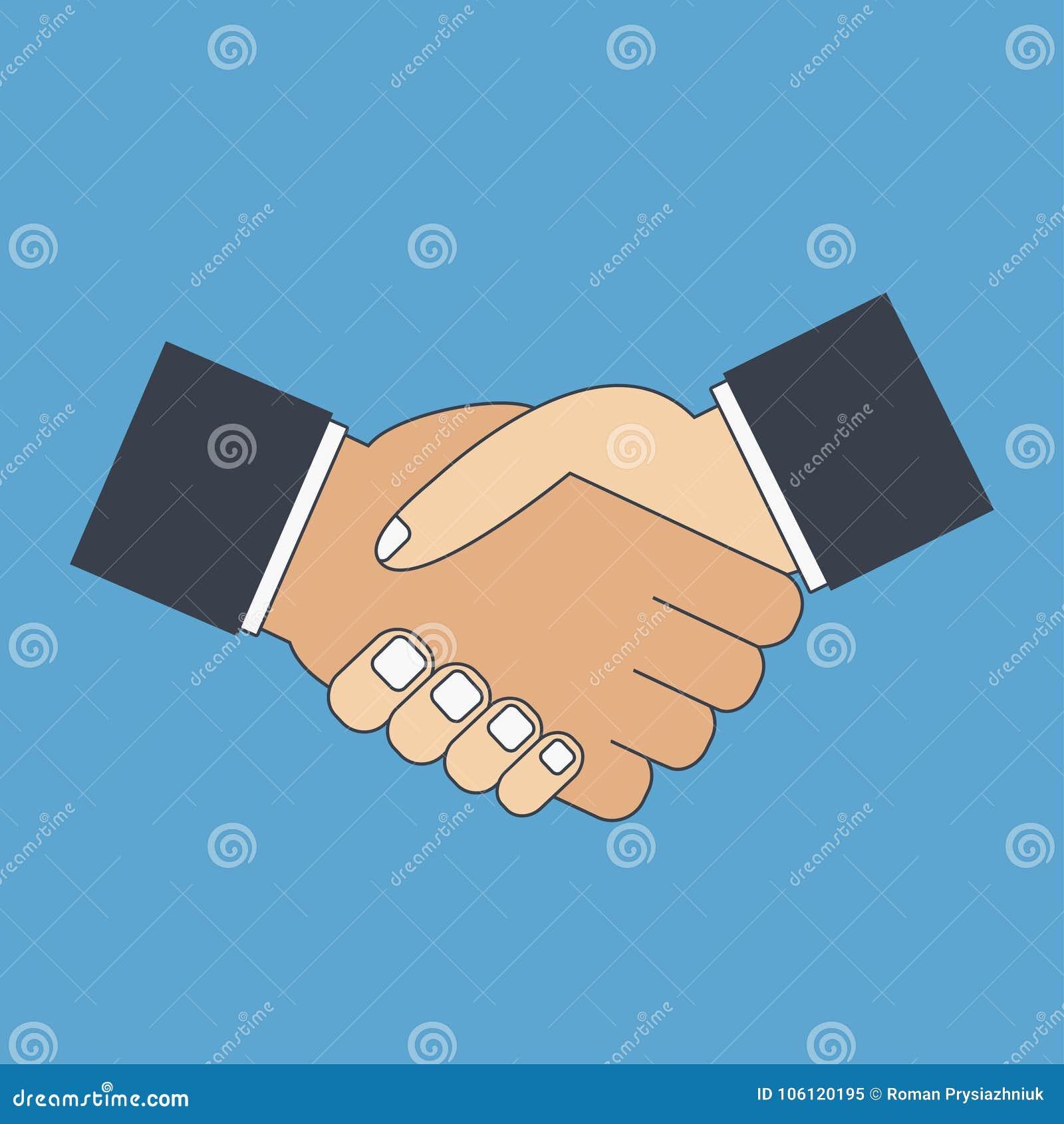 Handdruk vlak pictogram De handen van de schok Groet, vennootschap,
