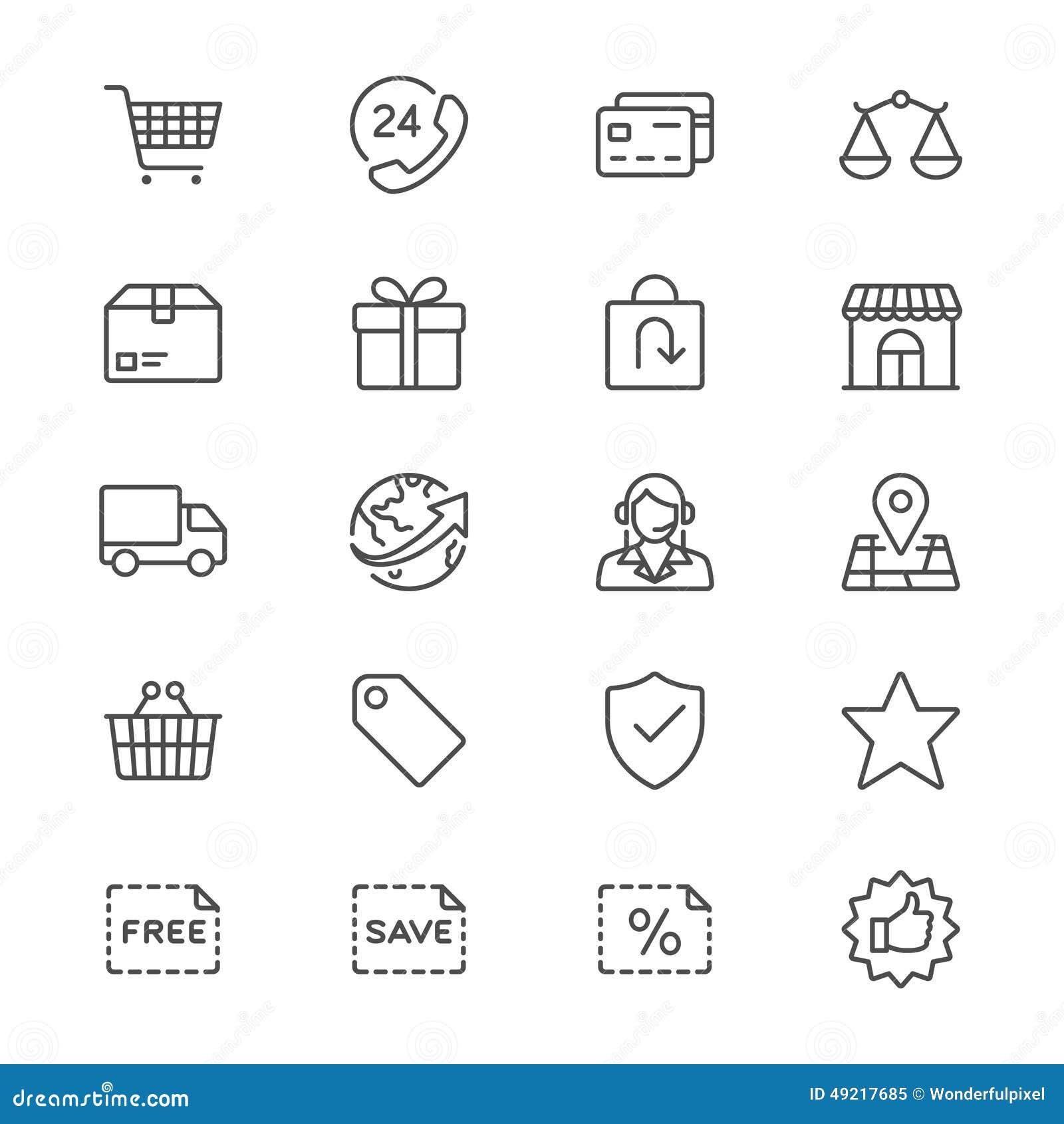 Handel elektroniczny cienkie ikony