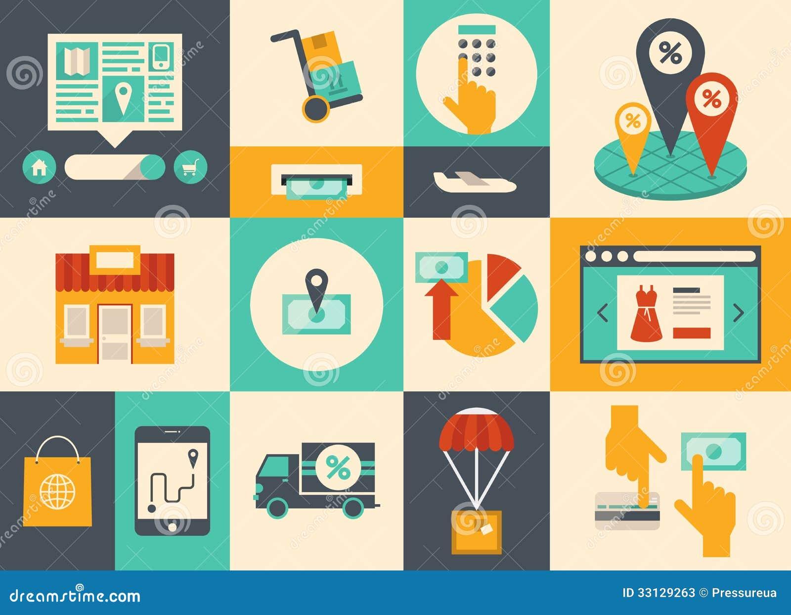Handel elektroniczny i online zakupy ikony