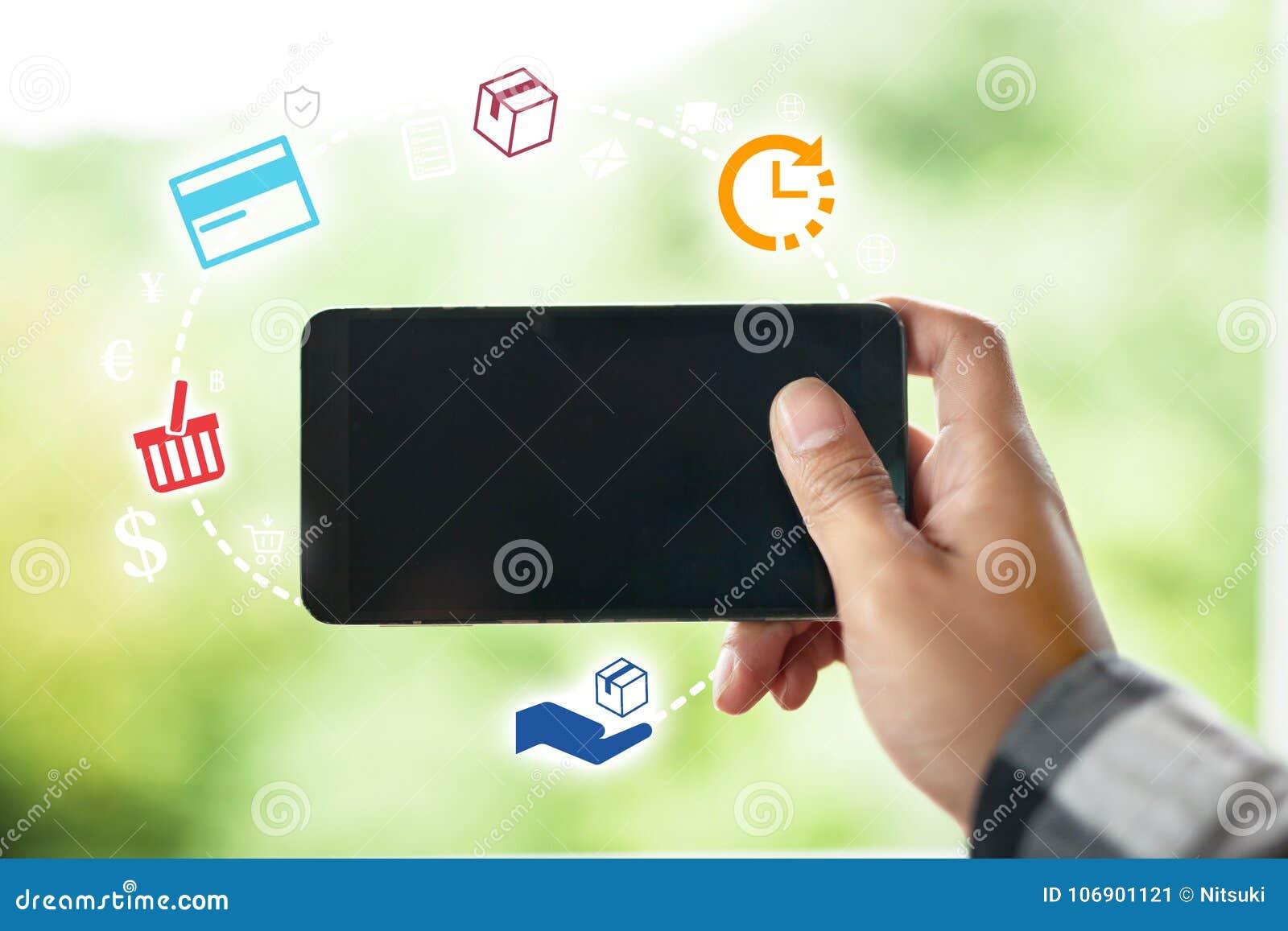 Handel elektroniczny i Online zakupy pojęcie