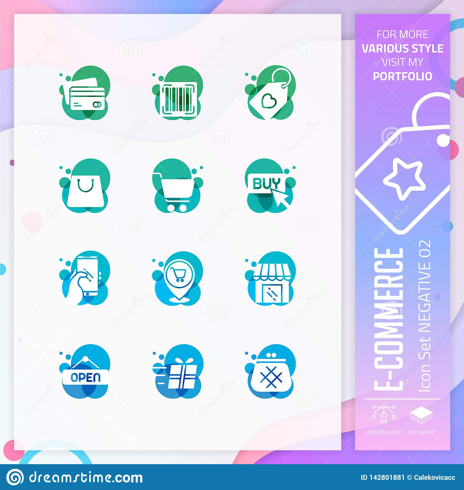Handel elektroniczny ikona ustawiająca na negatywu stylu dla robić zakupy symbol Online targowy ikona plik może używać dla strony