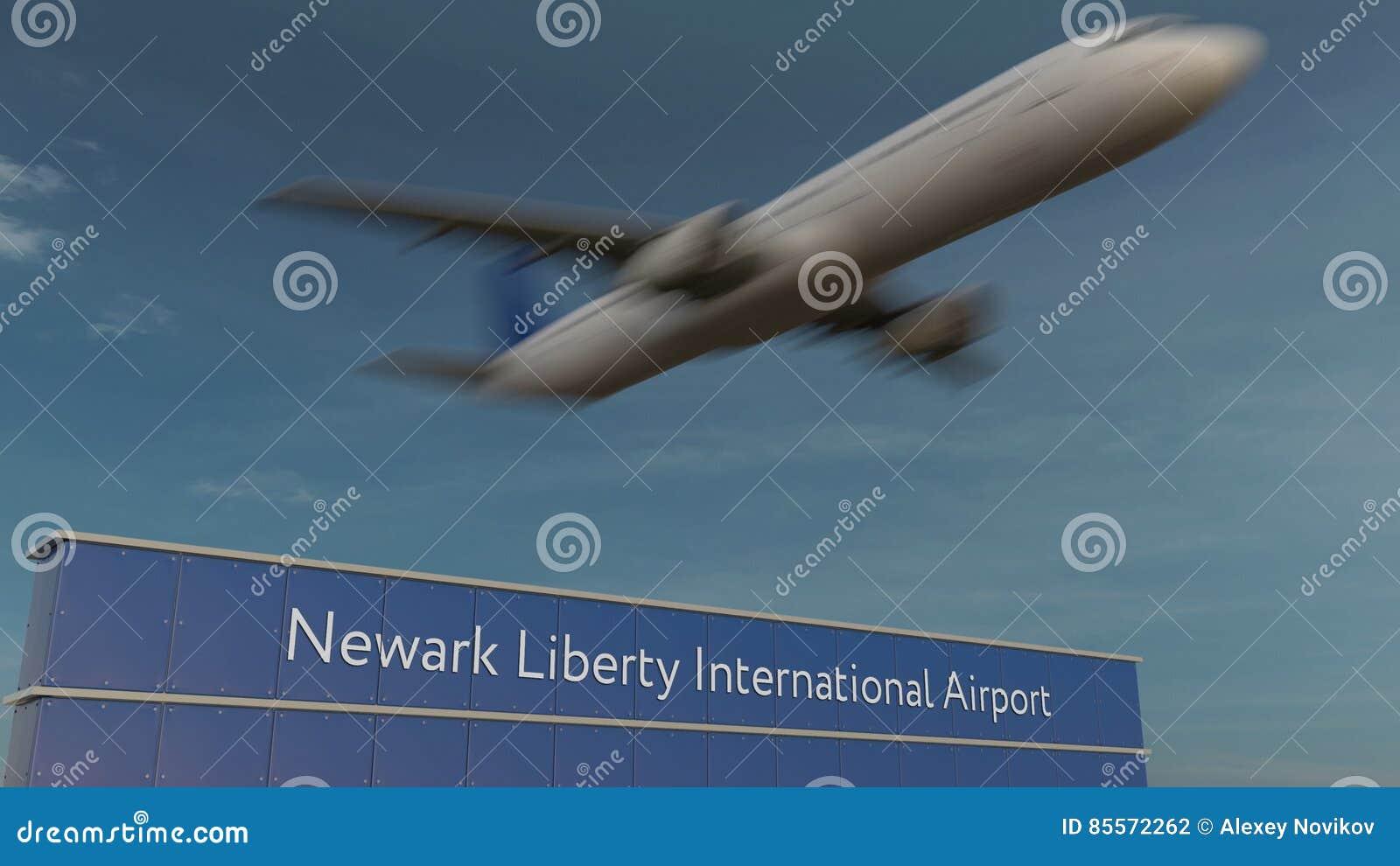Handelsflugzeug, das an Wiedergabe Newarks Liberty International Airport Editorial 3D sich entfernt