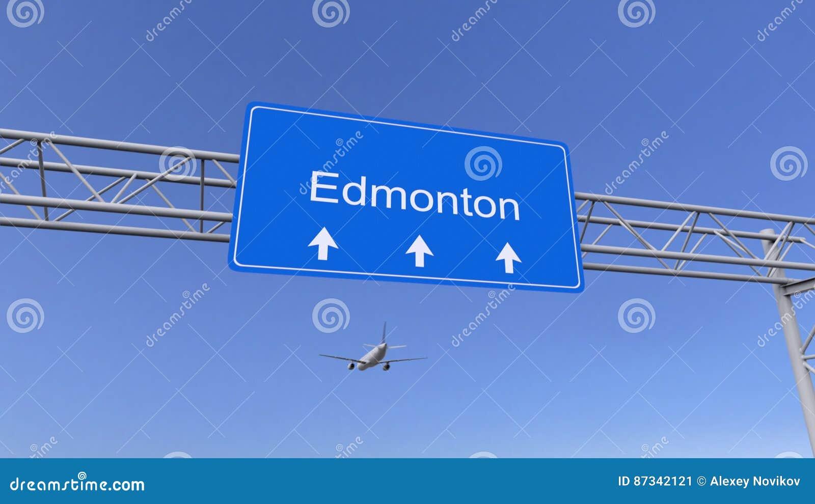 Handelsflugzeug, das zu Edmonton-Flughafen ankommt Reisen zu Kanada-Begriffs-Wiedergabe 3D