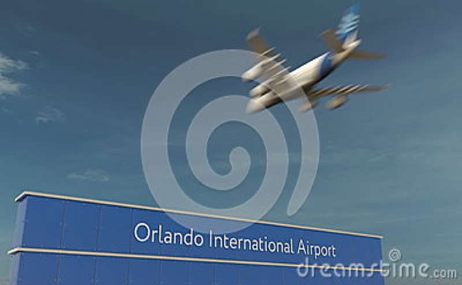 Handelsflugzeuglandung an Wiedergabe Orlando International Airports 3D