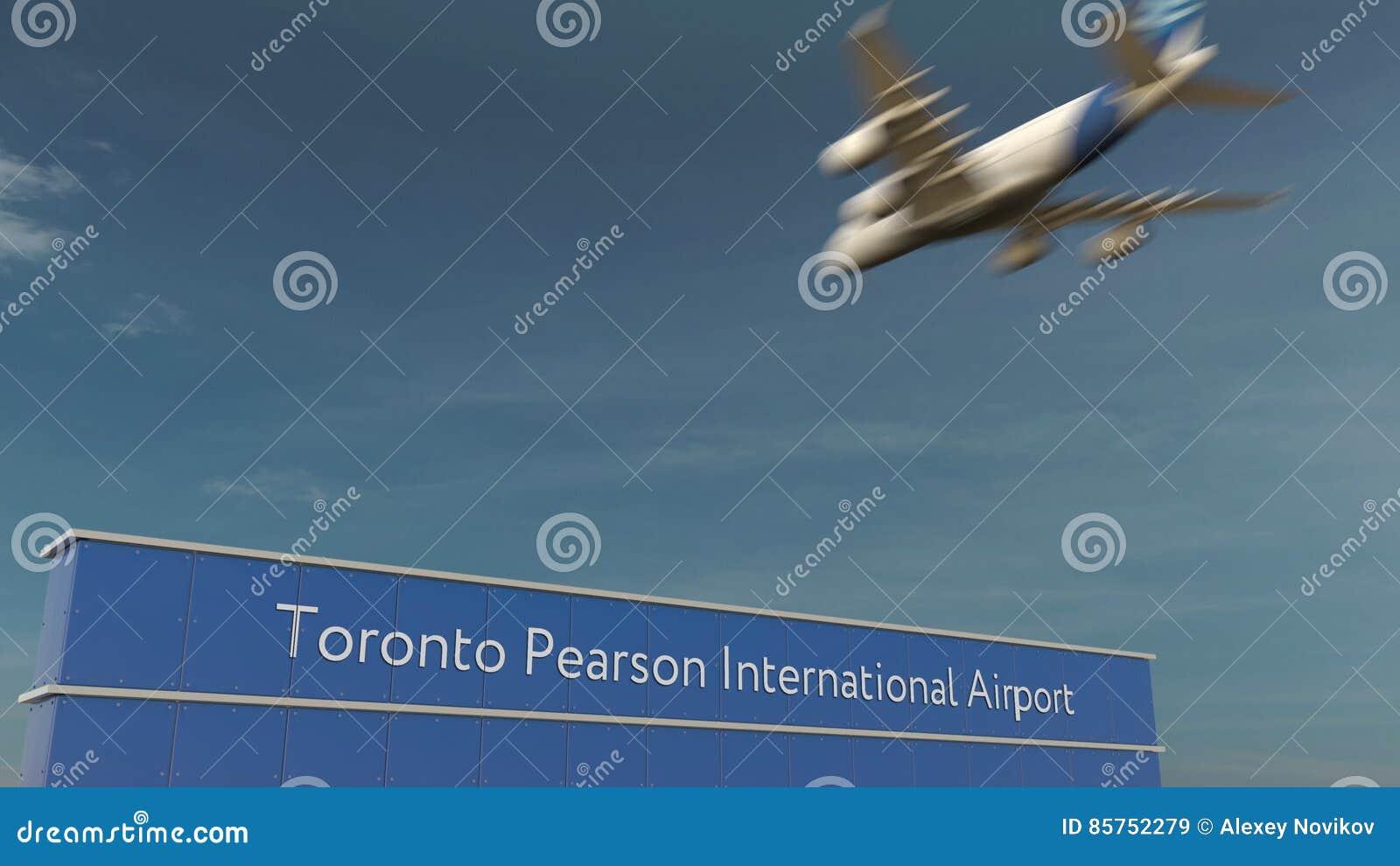 Handelsflugzeuglandung an Wiedergabe Torontos Pearson International Airport 3D