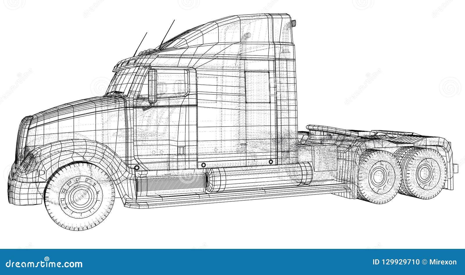 Handelsfrachtlieferwagen Getrennt Geschaffene Illustration von 3d Draht-Rahmen