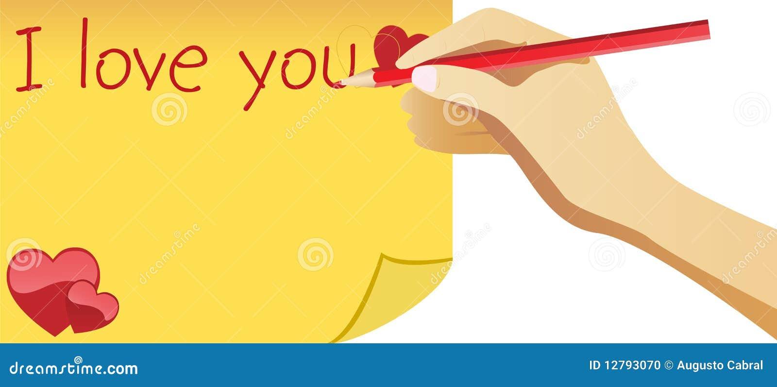 Handen älskar jag anmärkningswriting dig