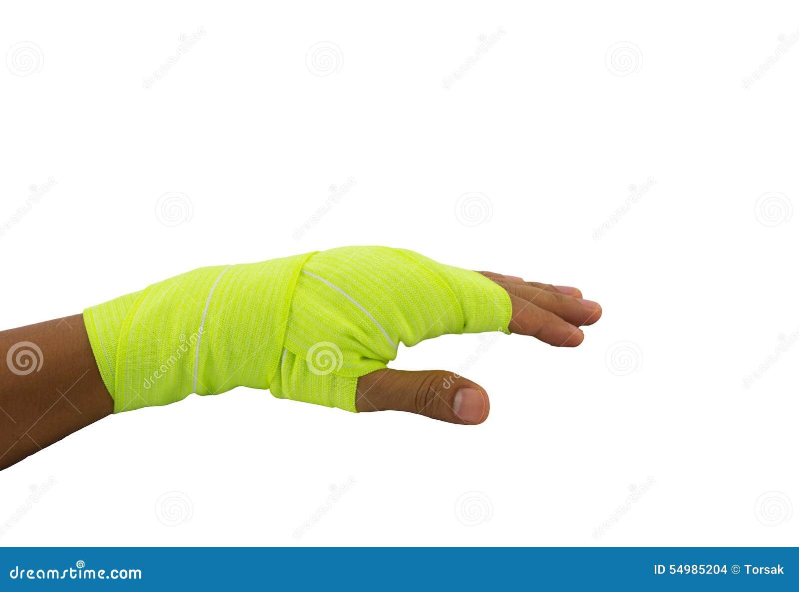 Handen bunden gul resår förbinder
