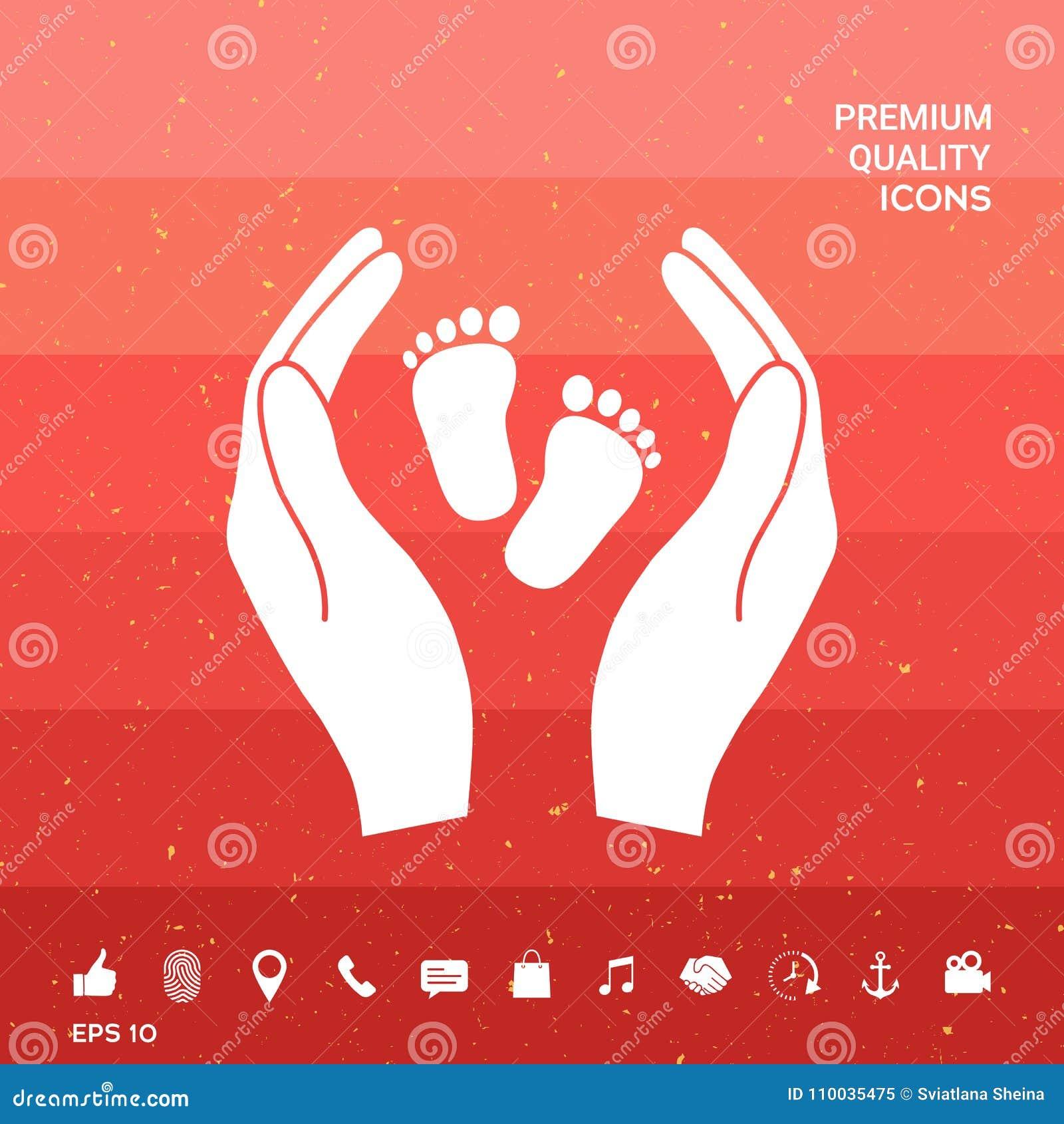 Handen die babyvoet houden - beschermingssymbool