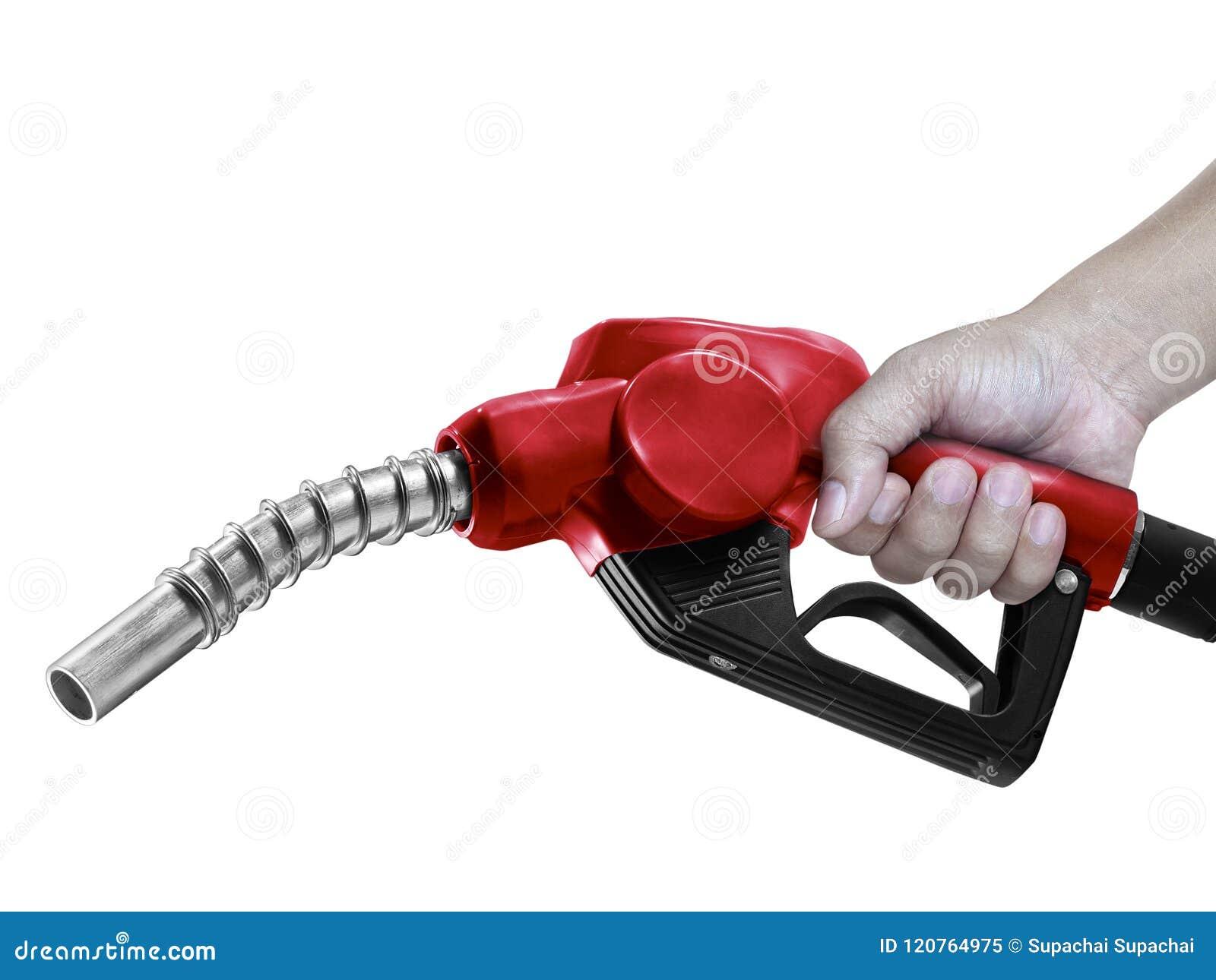 Handen die Brandstof rode die pijp met slang houden op witte achtergrond wordt geïsoleerd