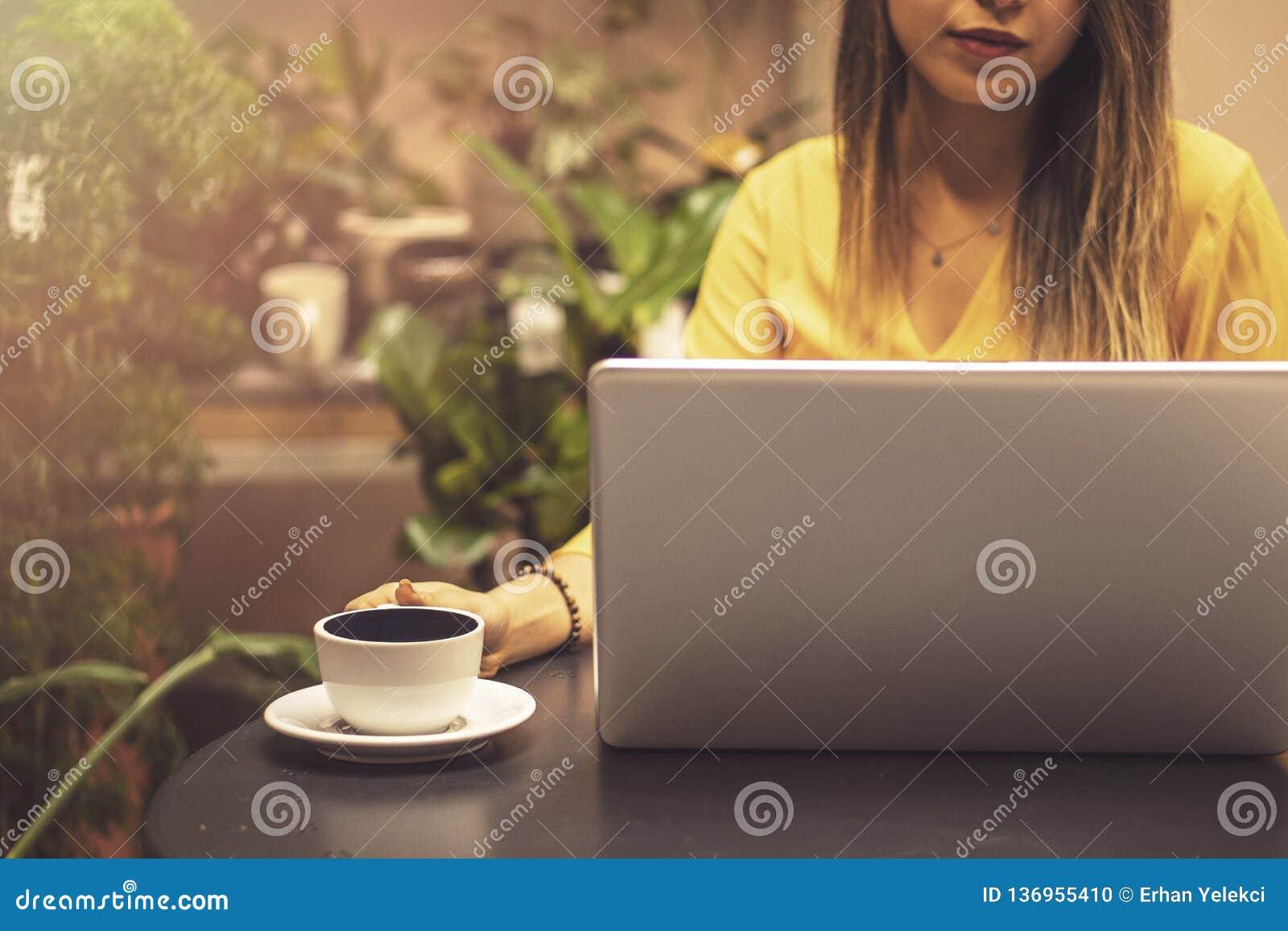 Handen die creditcard houden en laptop met behulp van Online Winkelend