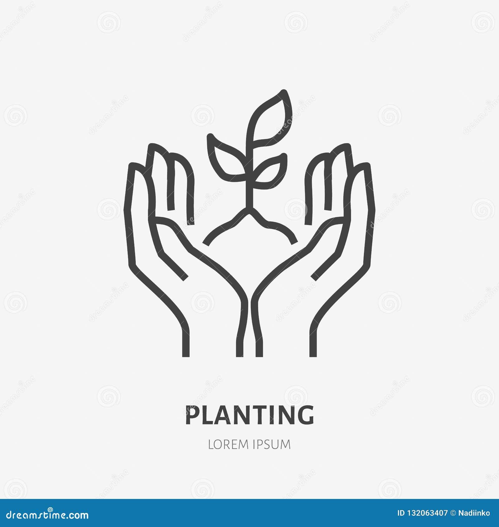 Handen die grond met pictogram van de installatie het vlakke lijn houden Vector dun teken van milieubescherming, het embleem van