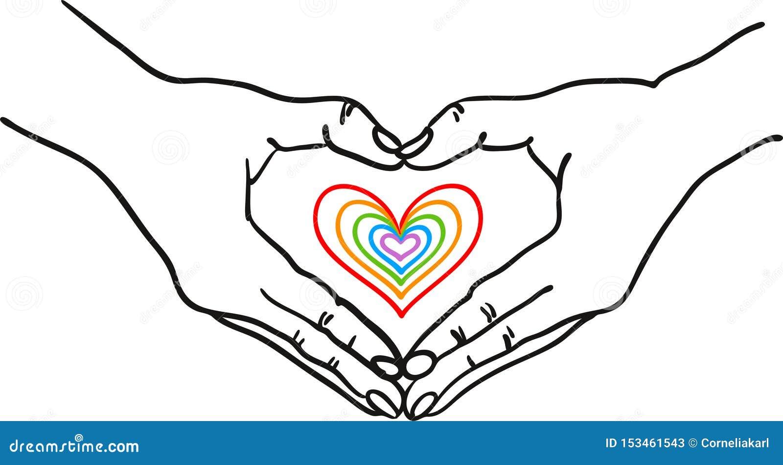 Handen die hartvorm vormen rond een kleurrijk romantisch hart - overhandig getrokken vectorillustratie - Geschikt voor Valentine,