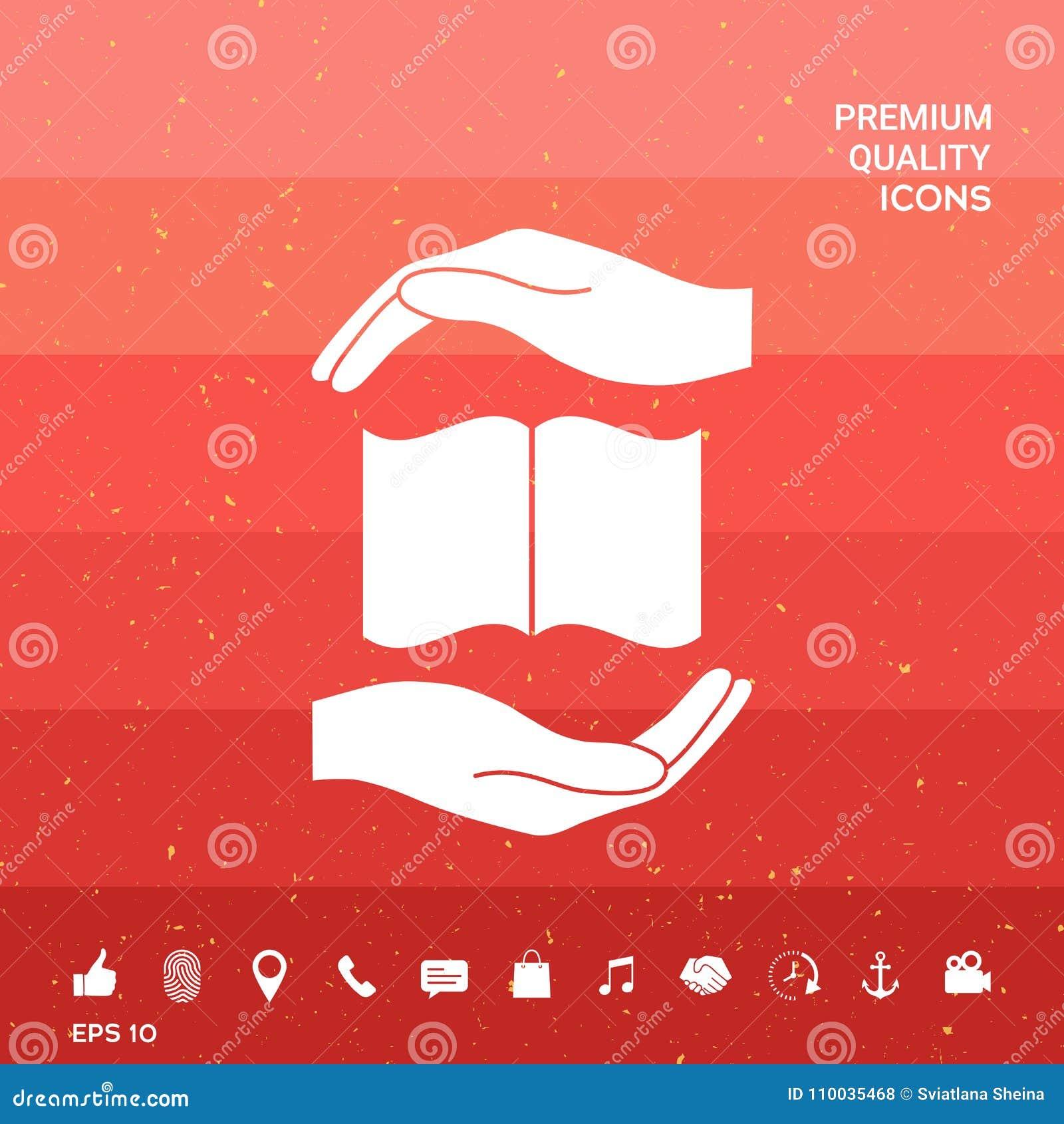 Handen die het symbool van de boekbescherming houden