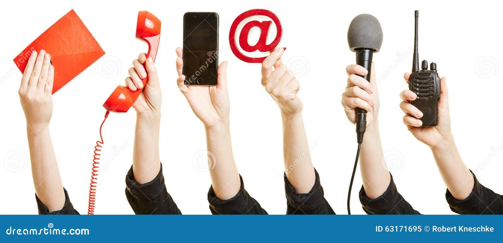 Handen die manieren van mededeling tonen