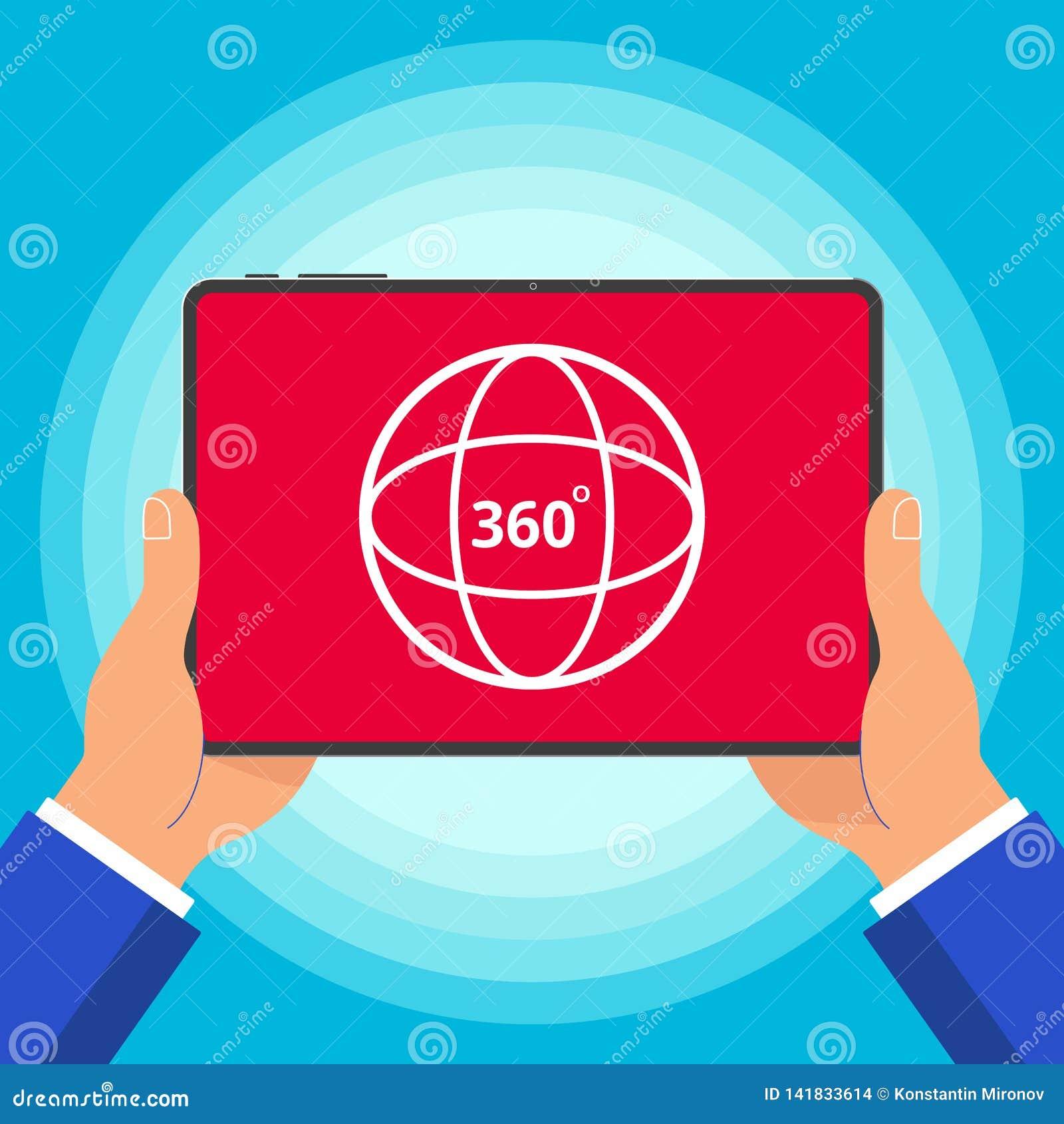Handen die tabletapparaat met 360 graden van het hoek houden pictogram het teken op de van de het ontwerpstijl van het het scherm