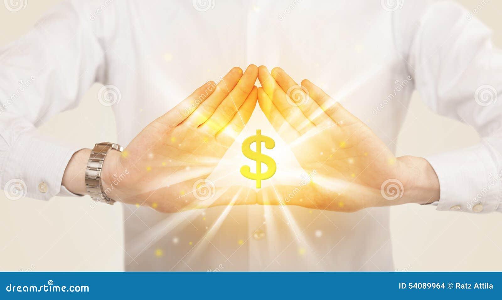 Handen die tot een vorm met dollarteken leiden