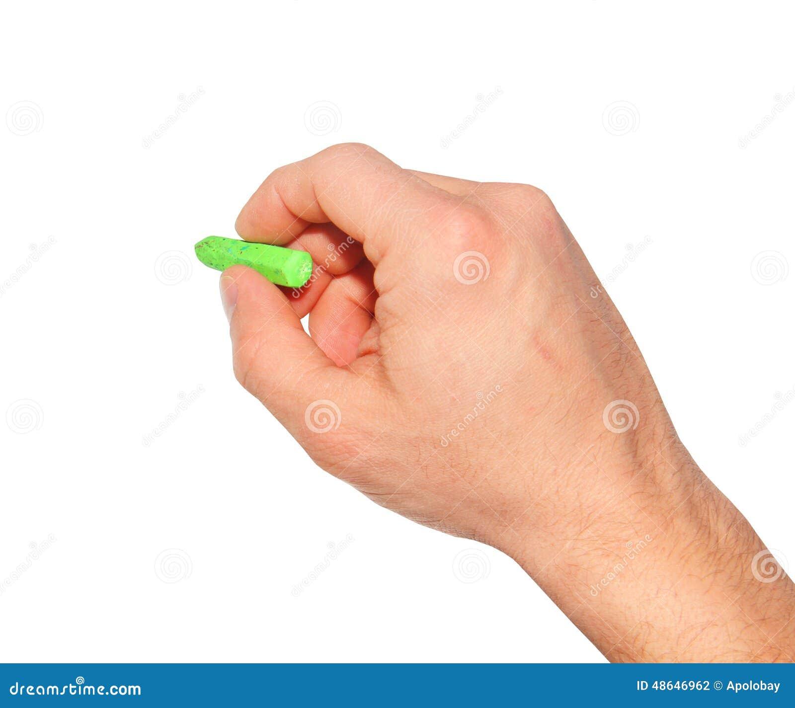 Handen drar en krita